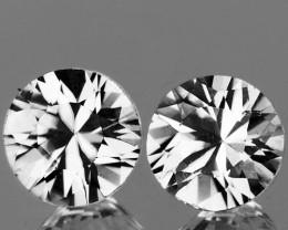 4.00 mm Round 2 pcs 0.51ct White Sapphire [VVS]