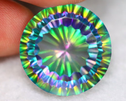 30.75ct Natural Mystic Peacock Topaz Round Cut Lot P334