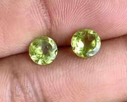 PERIDOT PAIR 6mm Natural Untreated Gemstone VA4744