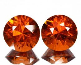 ~LOVELY~ 5.85 Cts Natural Mandarin Orange Spessartite Garnet PAIR Round Cut