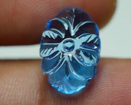 9.320CRT BEAUTY LEAF CARVING BLUE TOPAZ -