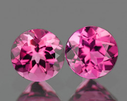 4.00 mm Round 2 pcs 0.58ct Pink Tourmaline [VVS]