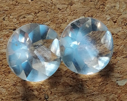 Moonstone, 2ct pair from the famous Austrian Habach valley, AAA grade very