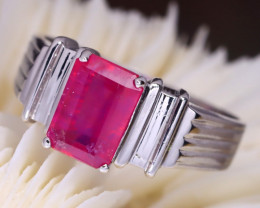Red Ruby 4.32g 925 Silver Ring Size 9 C0610