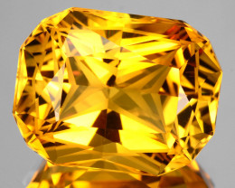 ~CUSTOM CUT~ 8.66 Cts Natural Golden Orange Citrine Fancy Cushion Brazil