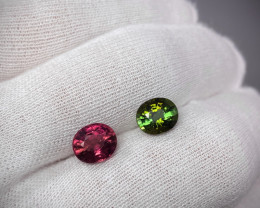 3.93 ct   Green and Rubellite Tourmaline  2 stones