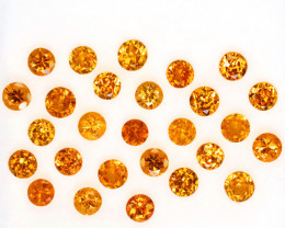 3.16 Cts Natural Fanta Orange Spessartite Garnet Round 27Pcs Namibia