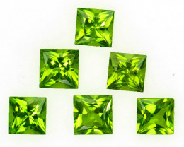 4.11 Cts Natural Parrot Green Period 5mm Princess Cut 6Pcs Pakistan