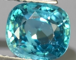 3.40 CTS~EXCEPTIONAL NATURAL CUSHION BLUE COLOR ZIRCON CAMBODIA!!