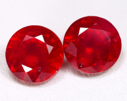 Red Ruby 4.10Ct 2Pcs Round Cut Pigeon Blood Red Ruby C0711