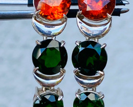 Earrings , SPHALERITE ; CHROME DIOPSIDE fire OPAL