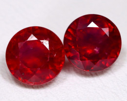 Red Ruby 4.48Ct 2Pcs Round Cut Pigeon Blood Red Ruby A0802