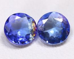 Tanzanite 1.43Ct 2Pcs Round Cut Natural Vivid Purplish Blue Tanzanite A0811