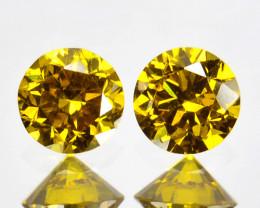 ~SPARKLING~ 0.13 Cts Natural Golden Diamond 2.5mm Round 2Pcs Africa