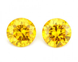 ~SPARKLING~ 0.13 Cts Natural Golden Diamond 2.5mm Round 2Pcs Africa