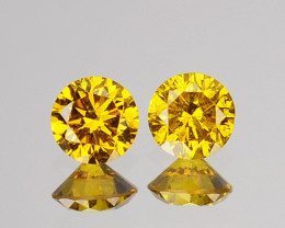 ~SPARKLING~ 0.15 Cts Natural Golden Diamond 2.66mm Round 2Pcs Africa