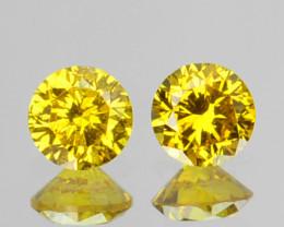 ~SPARKLING~ 0.17 Cts Natural Golden Diamond 2.68mm Round 2Pcs Africa