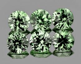 3.20 mm Round 6 pcs 0.95ct Green Sapphire [VVS}