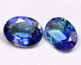 Tanzanite 2.21Ct 2Pcs Oval Cut Natural Vivid Purplish Blue Tanzanite C0912