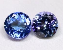Tanzanite 1.77Ct 2Pcs Round Cut Natural Purplish Blue Tanzanite C1007