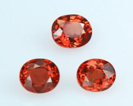 3 pcs. SONGEA Orange Sapphire, Exceptional Colour, Matching set for Earring