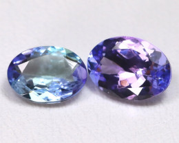 Tanzanite 1.84Ct 2Pcs Oval Cut Natural Purplish Blue Tanzanite B0908