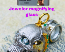SKULL JEWELERY MAGNIFIER WITH DIAMONDS AND EMERALDS