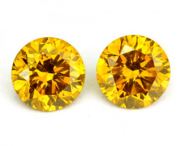 ~Matching~ 0.18 Cts Natural Golden Diamond 2.70mm Round 2Pcs Africa