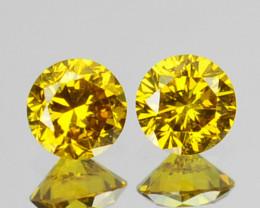 ~SPARKLING~ 0.13 Cts Natural Golden Diamond 2.50mm Round 2Pcs Africa