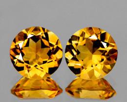 8.00 mm Round 2 pcs 3.41cts Golden Yellow Citrine [VVS}
