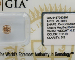 0.93ct Natural Fancy BrownDiamond GIA certified  & sealed SI2