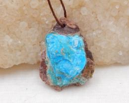 14cts Raw Blue Opal Pendant, October Birthstone, Blue Opal Pendant Bead H67