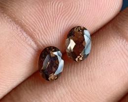7x5 mm Smoky Quartz Gemstone Pair 100% Natural and Untreated Gems VA4989