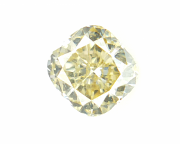 0.33 CTS , Natural Yellow Diamond , Cushion Brilliant Cut