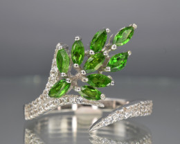 Natura Chrome Diopside, CZ and 925 Silver Ring, Attractive Design