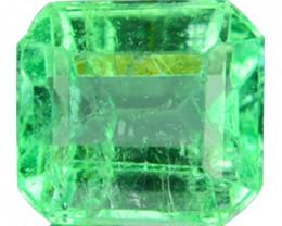 Natural Vivid Green Emerald Octagon Cut Colombia 0.40 Cts