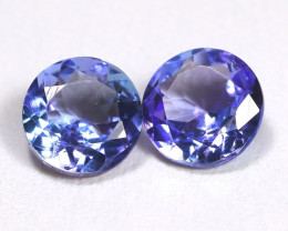 Tanzanite 1.64Ct 2Pcs Round Cut Natural Purplish Blue Tanzanite C1308