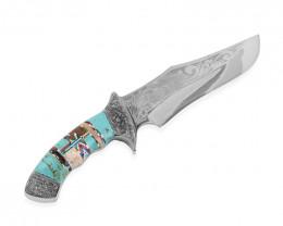 (Turquoise) SANTA FE Style Multi Gemstone Embossed Dagger Knife with Leathe