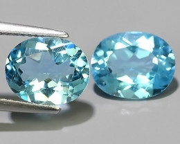8.25 Cts Excellent Sky Blue Topaz Wonderful Oval Dazzling 2 Pcs!!