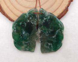 57.5cts Nugget Moss Agate Earrings gemstone earrings beads, stone for earri