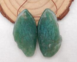 64cts Nugget Moss Agate Earrings gemstone earrings beads, stone for earring