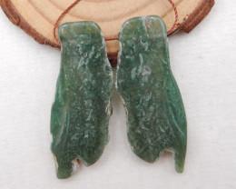 51.5cts Nugget Moss Agate Earrings gemstone earrings beads, stone for earri