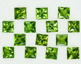 10.00Ct Natural Green Peridot 8mm Square Princess 5mm Parcel