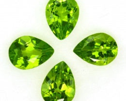 4.25 Cts Natural Parrot Green Peridot 8x6mm Pear Cut 4Pcs Pakistan