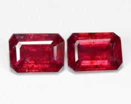 3.12 Cts 2pcs Pair  Pinkish Red Natural Ruby BURMA  Loose Gemstone