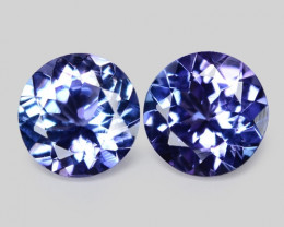 1.18 Cts 2pcs Amazing rare Violet Blue Color Natural Tanzanite Gemstone