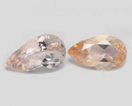 2.52 Cts 2 Pcs Amazing Rare Natural Pink Color Morganite Gemstone