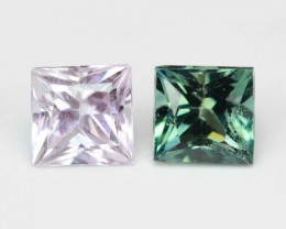 0.23 Cts 2 Pcs Rare Natural Fancy Pink-Green Ceylon Sapphire Loose Gemstone