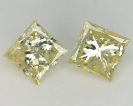 0.97 cts , Pair Of yellow Diamonds , Round Brilliant Cut