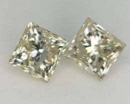 2 pcs/0.928 cts , Light Color Diamond , Princess Brilliant cut